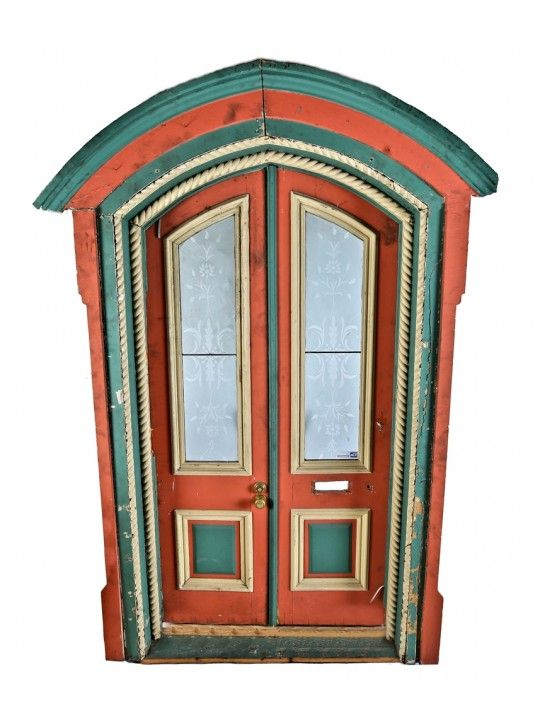 commercial exterior double doors. Largely Intact Early Post-fire Salvaged Chicago Gothic Style Victorian Cottage Painted Pine Wood Double Door And Surround With Detailed Rope Molding Commercial Exterior Doors V