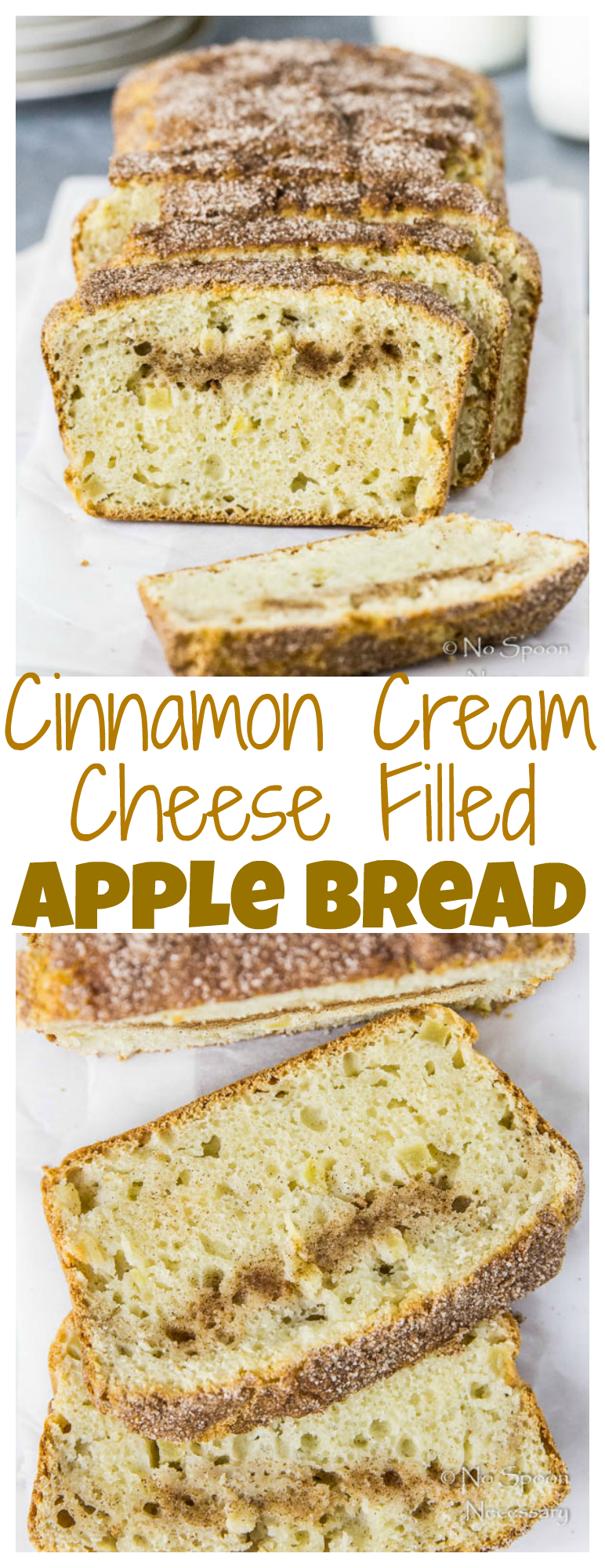 Moist and tender bread studded with chunks of real apples; cinnamon spice and filled with a decadent streak of cream cheese.