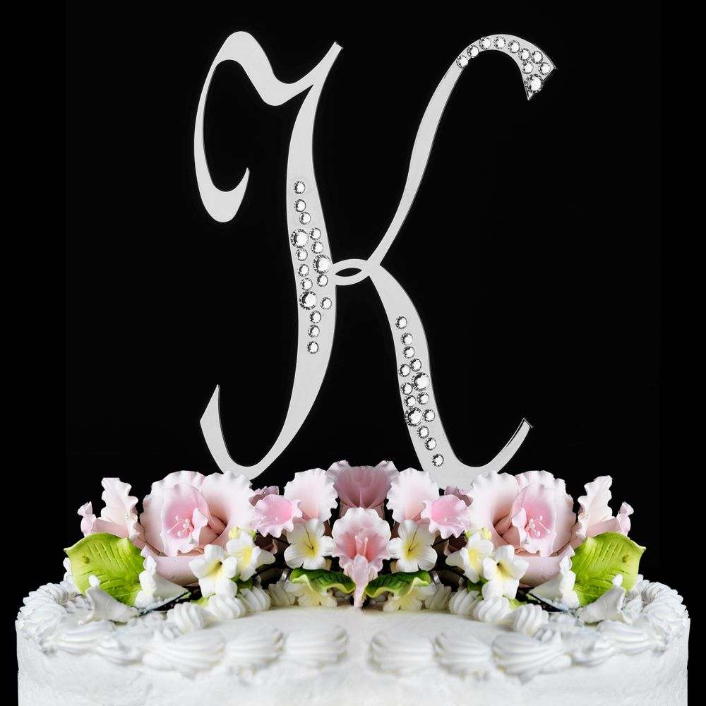 sparkle swarovski crystal wedding cake topper silver letter k