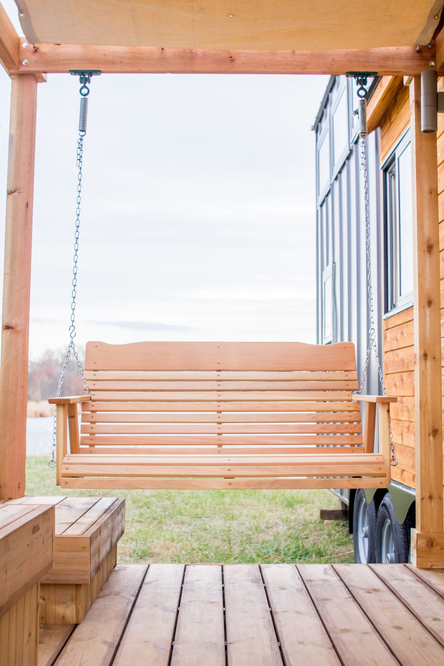 Elsa by Olive Nest Tiny Homes | Porch swings, Pergolas and Square feet