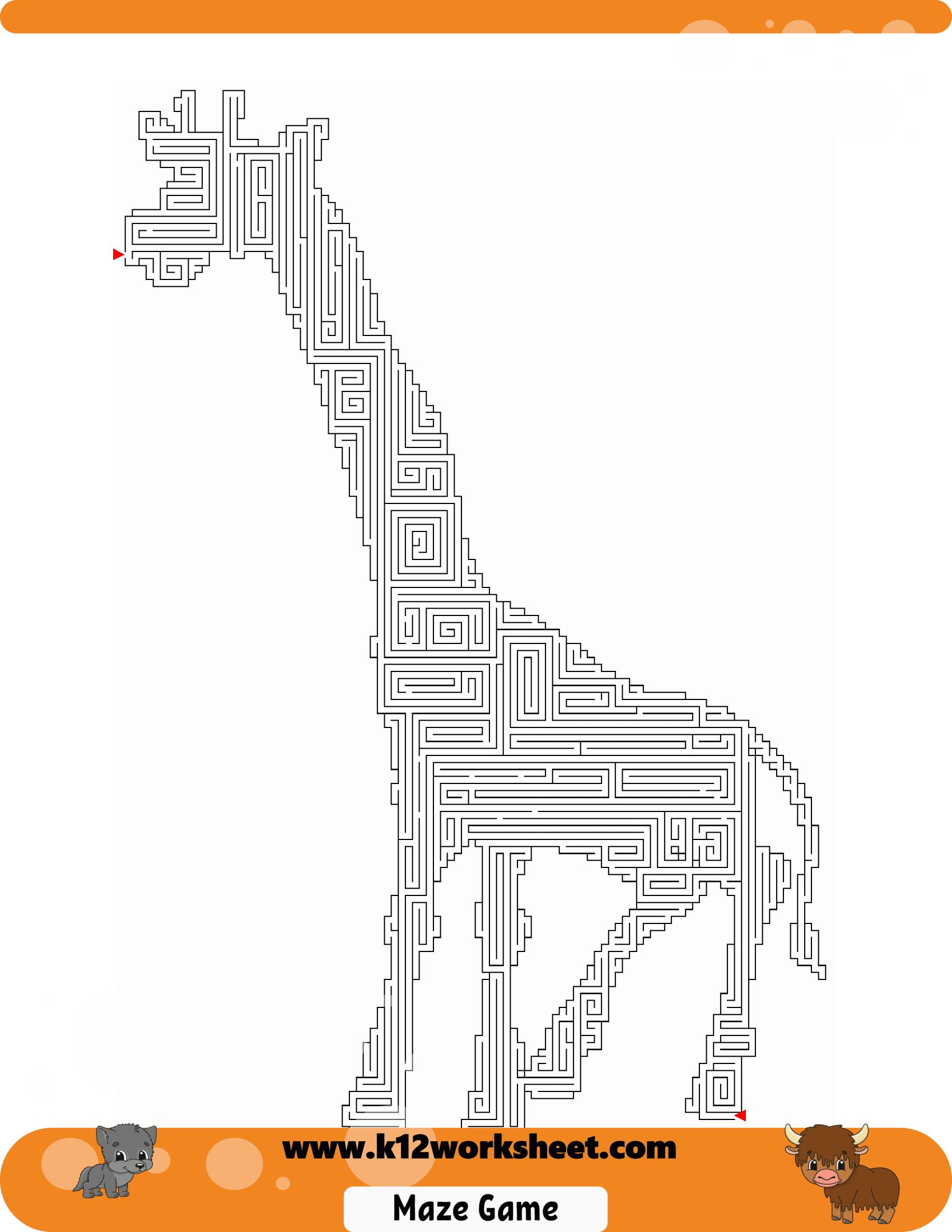 Giraffe Maze For Kids