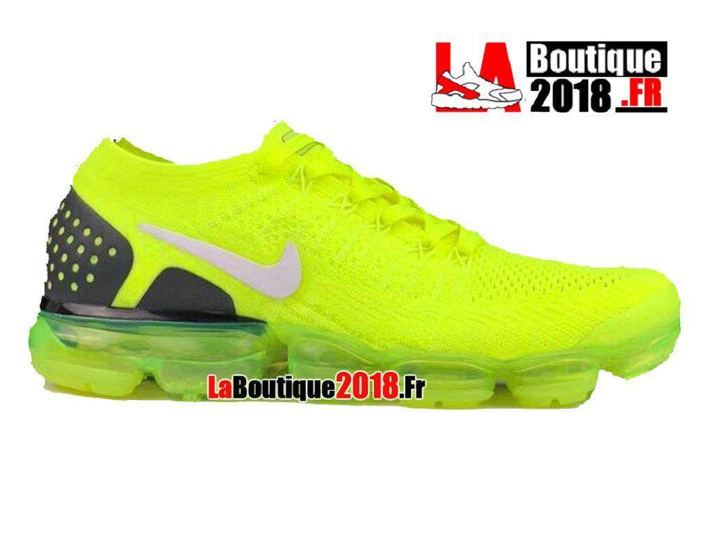 9dee03d04552d Nike Air VaporMax Flyknit 2.0 Jaune Vert Noir 942842-701 Chaussure de  Running