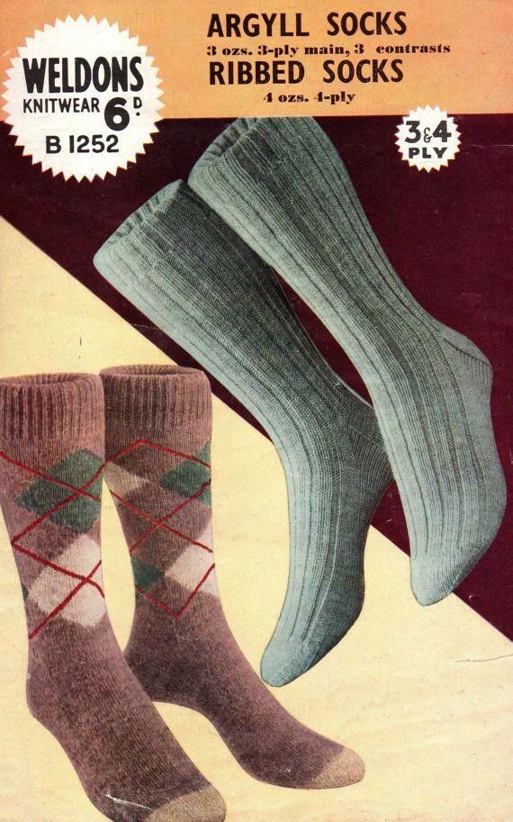 Mens Argyle Socks 1940s Vintage Knitting by ...