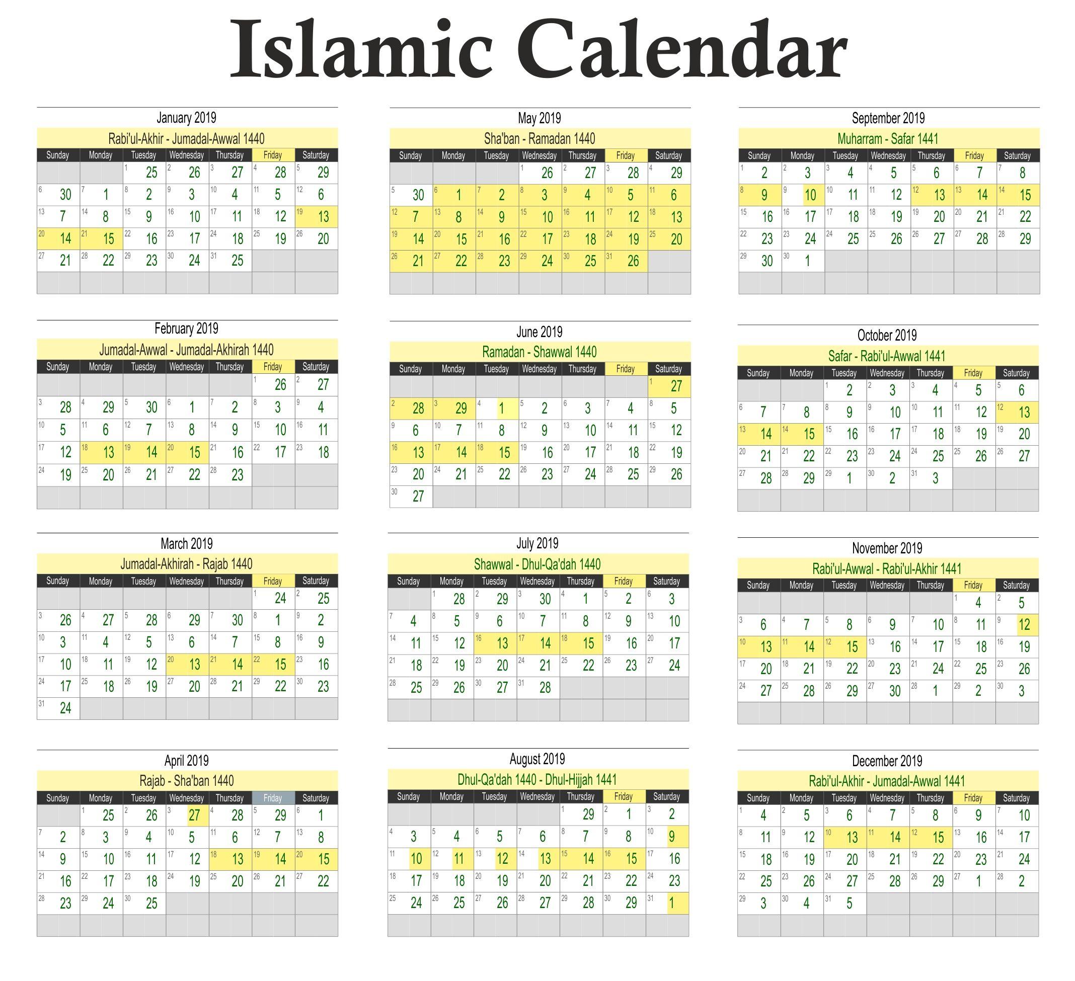Free Printable Islamic Calendar 2019 Hijri Calendar November
