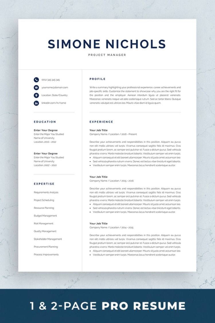 Professional Resume Template For Word Pages Executive Manager