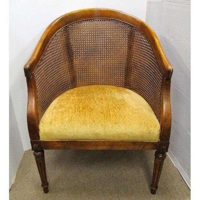 Image Of Vintage Cane Back Barrel Chair