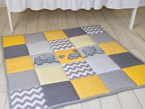 Gray Elephant Playmat Yellow Play Mat Floor By