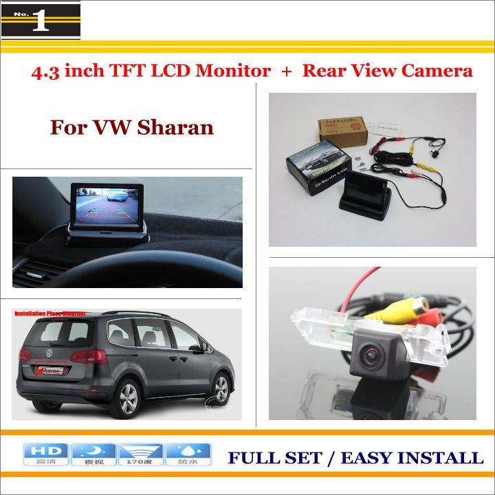 "For Volkswagen VW Sharan - Car Rear Camera + 4.3"" TFT LCD Screen Monitor = 2 in 1 Back Up Parking System"