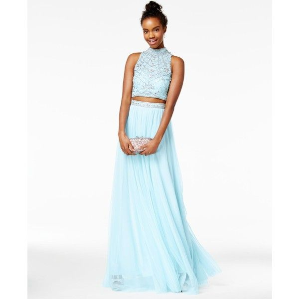 Say Yes to the Prom Juniors\' 2-Pc. Rhinestone A-Line Gown ($179 ...