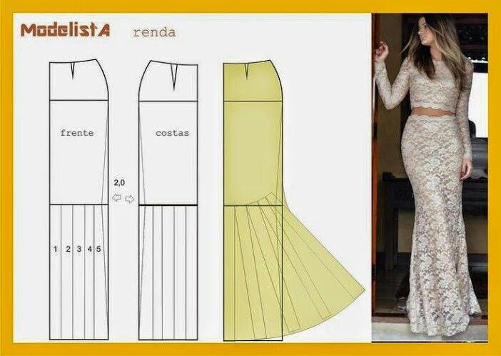 Patrón falda para vestido de fiesta | molderia | Costura, Patron ...