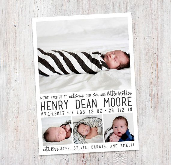 Birth Announcement : Welcome Henry Baby Boy Custom by deanworks