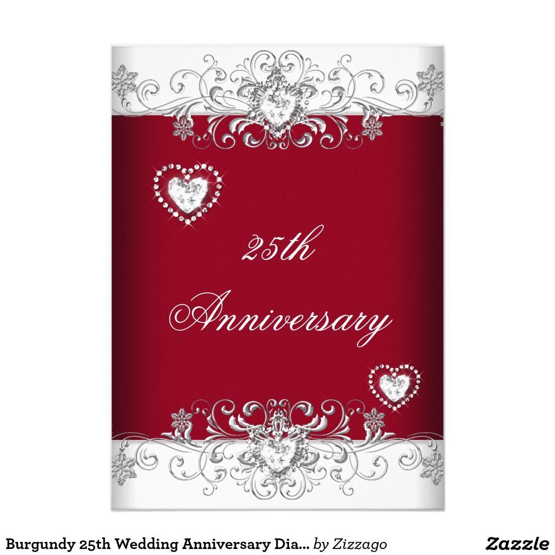 Burgundy 25th Wedding Anniversary Diamond Hearts Invitation ...