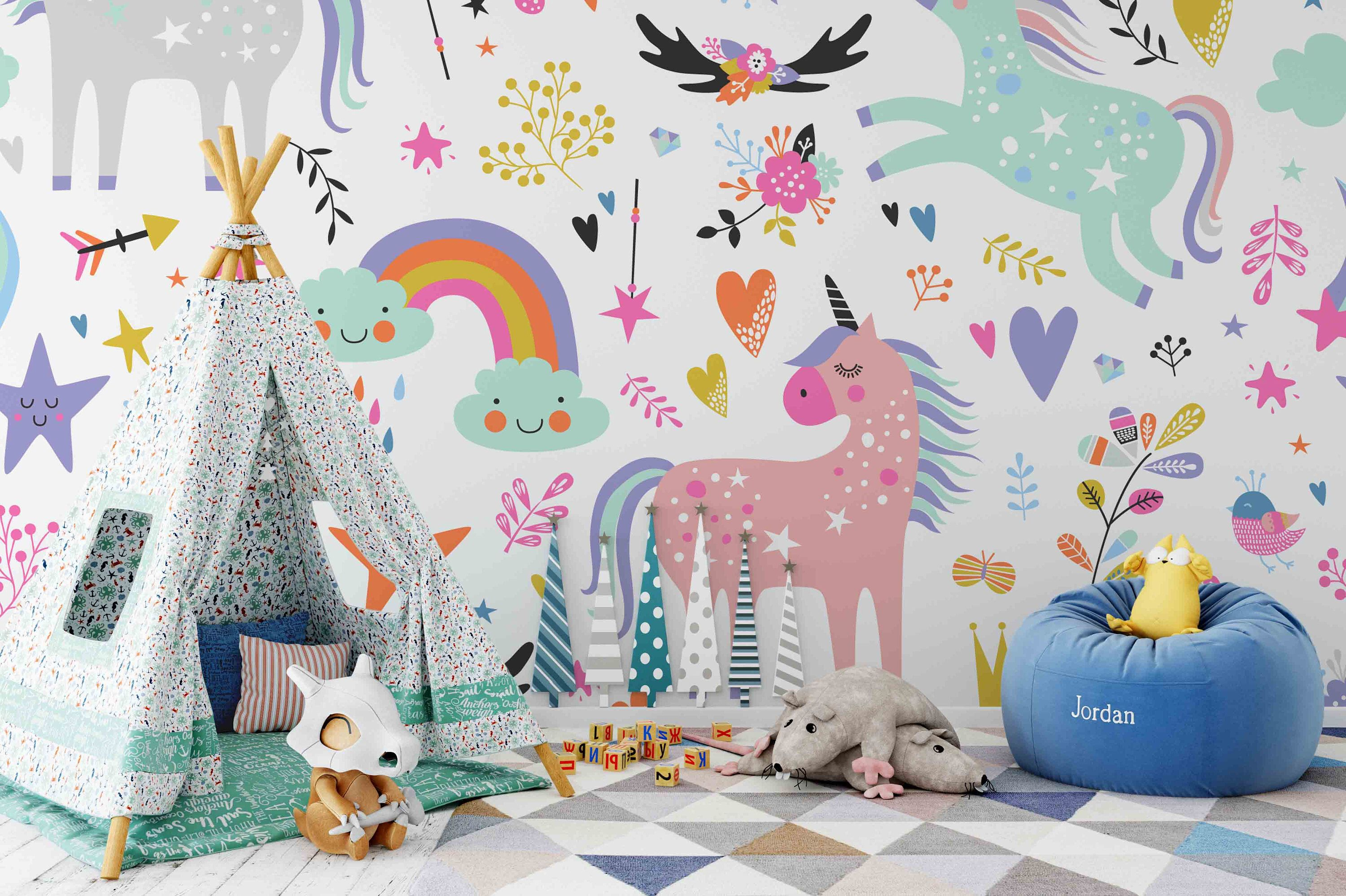 3d Unicorn Removable Wallpaper Peel And Stick Wall Mural Floral Wall Art Wall Decal Kids Nursery Wall S Nursery Wall Stickers Playroom Mural Kids Wall Decals
