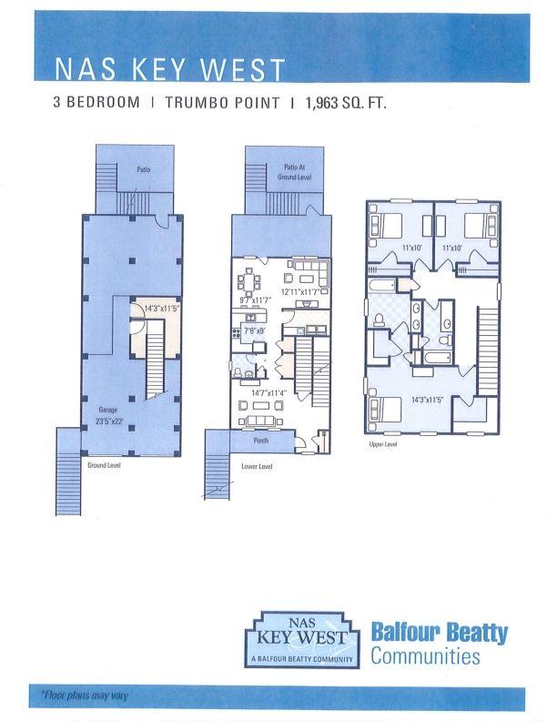 Nas Key West Trumbo Point Neighborhood 3 Bedroom 3 Story Home Floor Plan Key West House Rental Nas Key West