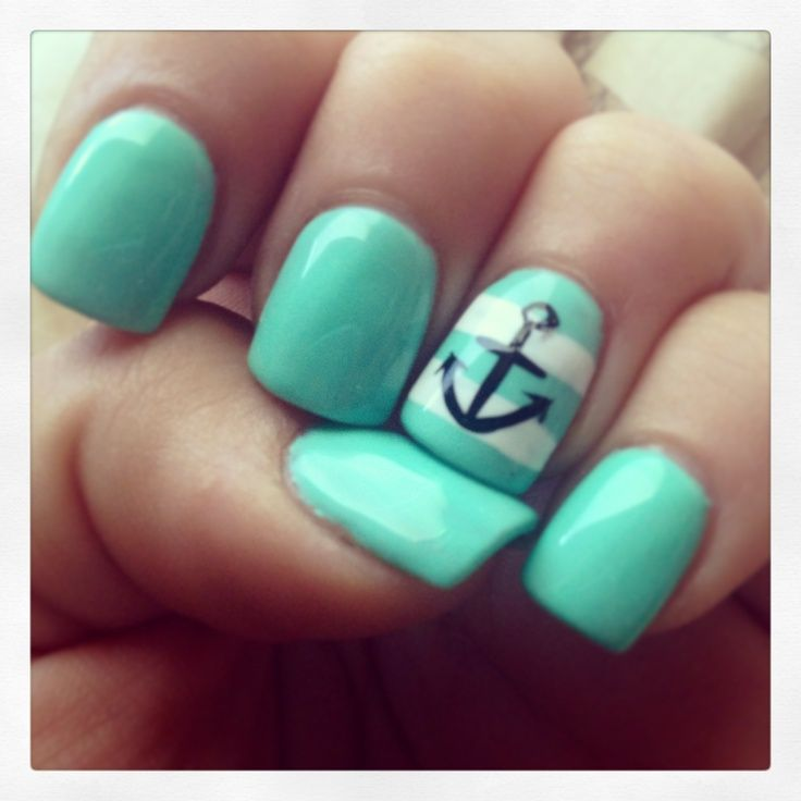 60 Cute Anchor Nail Designs - 60 Cute Anchor Nail Designs Nautical Nails, Mint Color And Gel