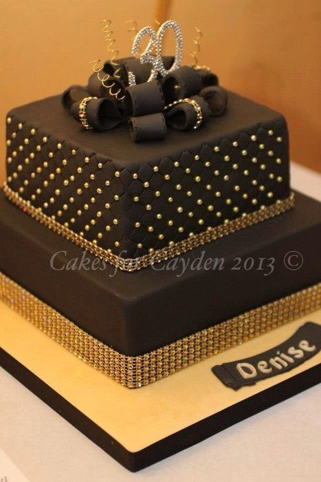 Black And Gold Parcel Cake By Nichola Cakesdecor Com