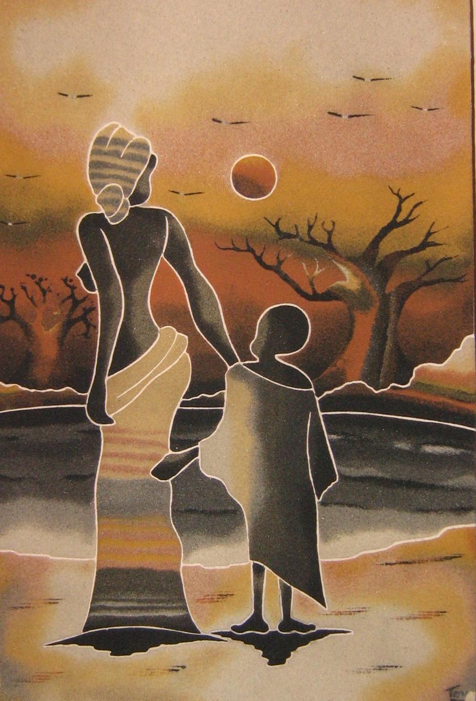 Cuadros de arena de Senegal: Cuadros de arena grandes   Africanos ...