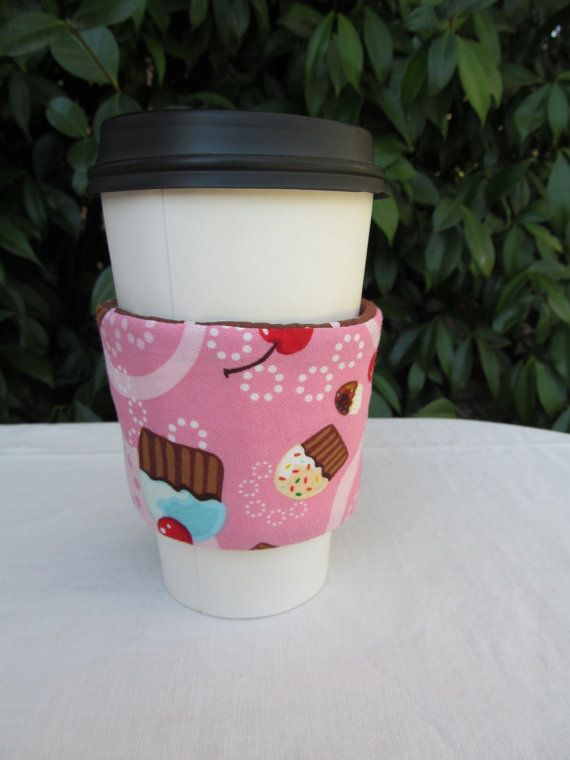 Cupcake themed pink and brown and pink dots reversible cup cozy sleeve - $8
