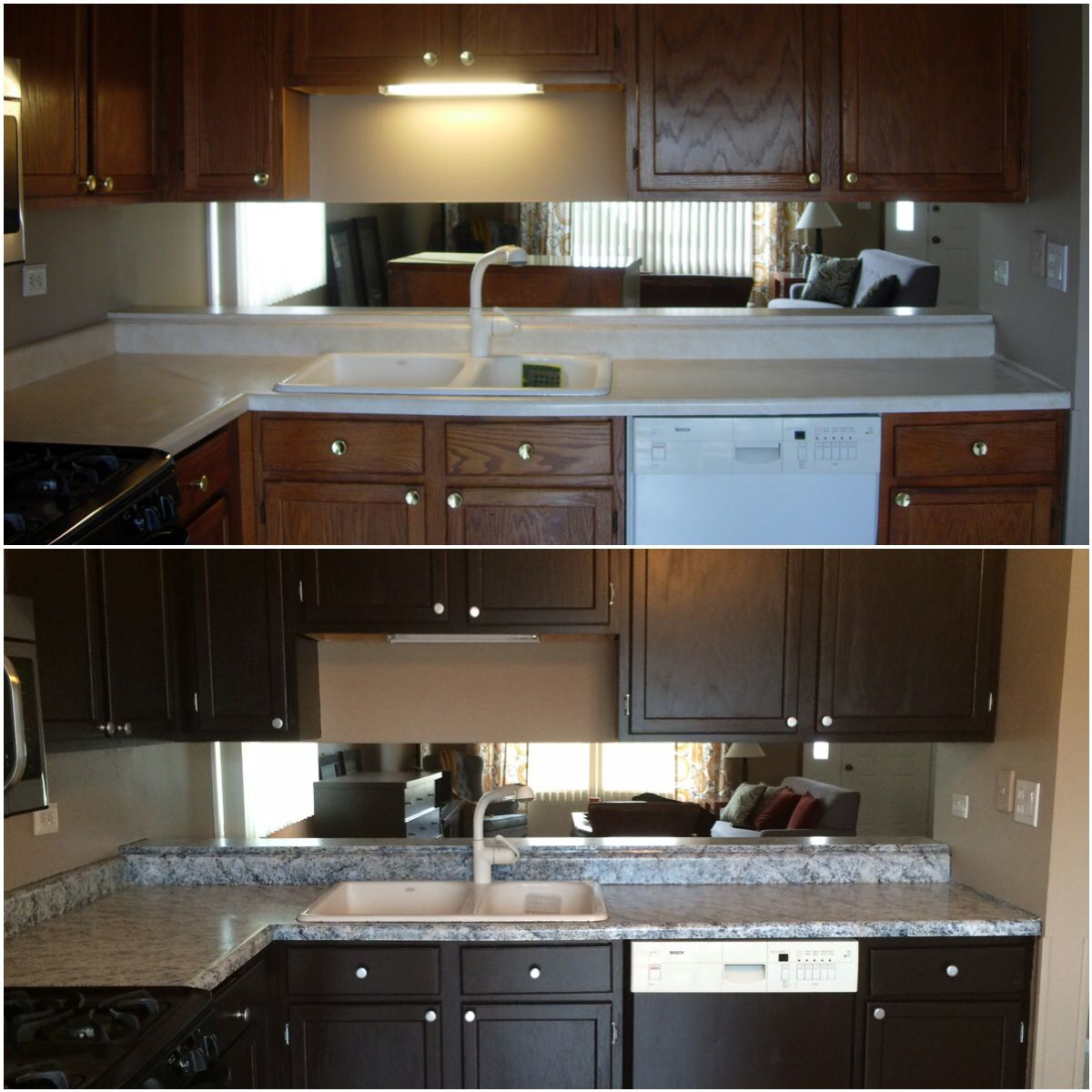 Amazing countertops after using giani granite white for Sherwin williams cabinet paint