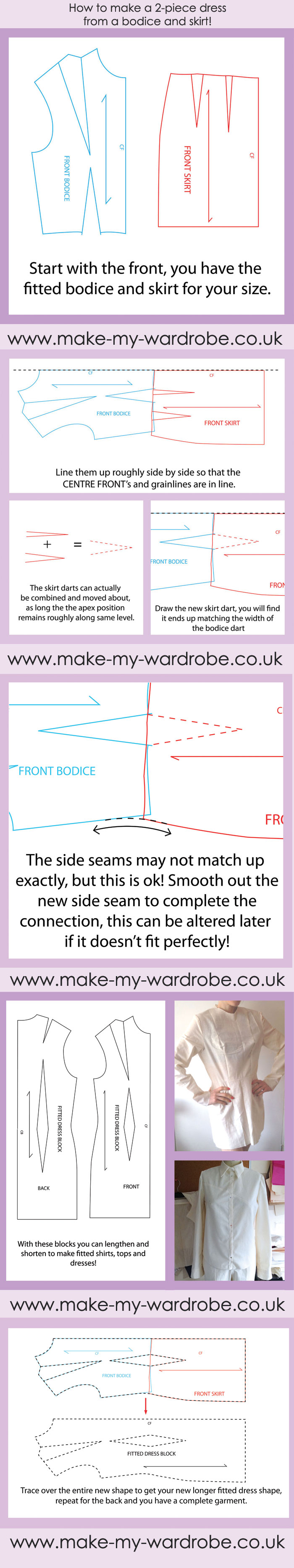 How to make a 2-piece dress from a bodice and top! For more ...
