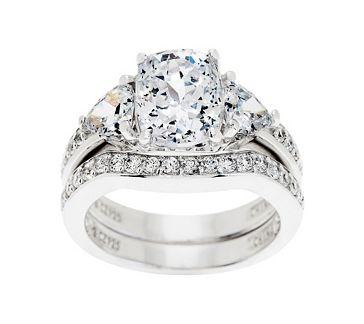 Epiphany Diamonique 2 95 Cttw 100 Facet 2 Pc Bridal Ring Set J262447 Qvc Com Qvc Jewelry Bridal Ring Sets Bridal Rings