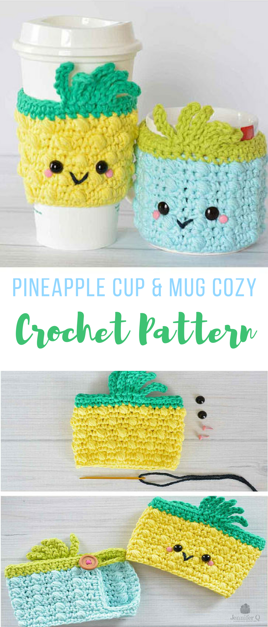 omg doesn\'t get any cuter than this crochet pineapple cup and mug ...
