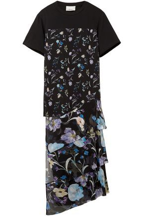 ed85c99a4e0 3.1 PHILLIP LIM WOMAN COTTON-JERSEY AND FLORAL-PRINT CRINKLED SILK-CHIFFON  TOP BLACK. #3.1philliplim #cloth