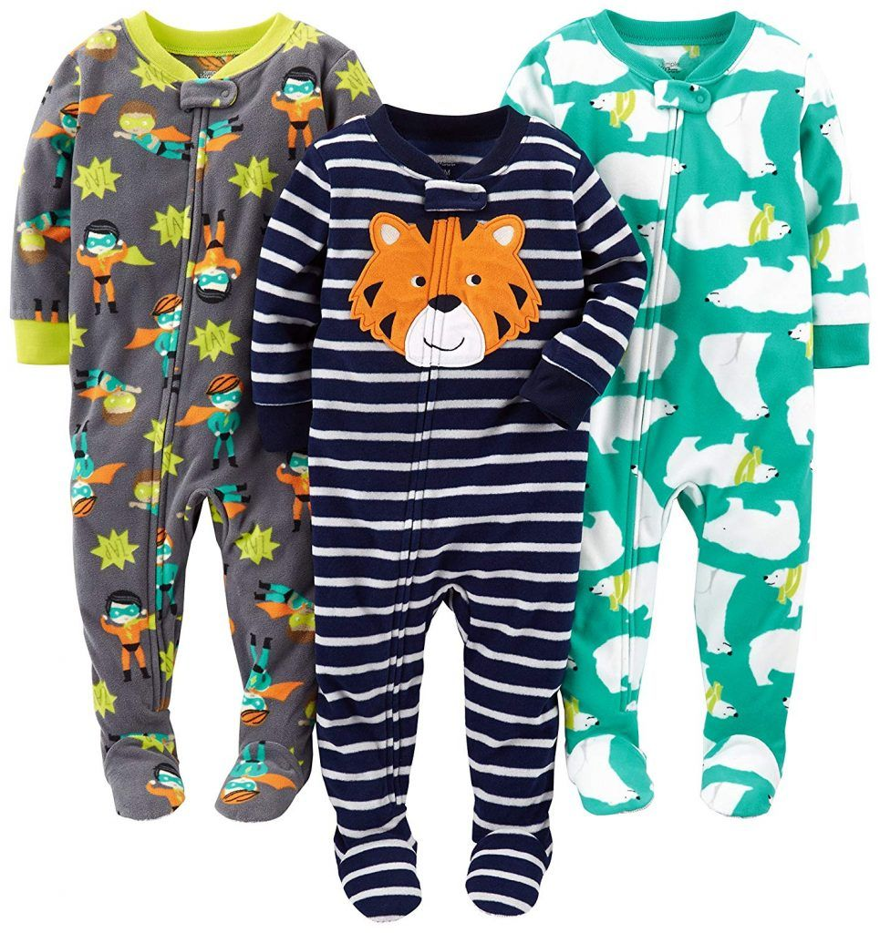 Simple Joys by Carters Baby-Boys 3-Pack Loose Fit Flame Resistant Fleece Footed Pajamas