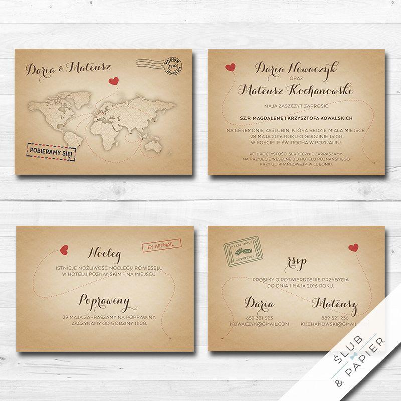 Zaproszenie Rustykalna Mapa ślub Papier Wedding Invitations