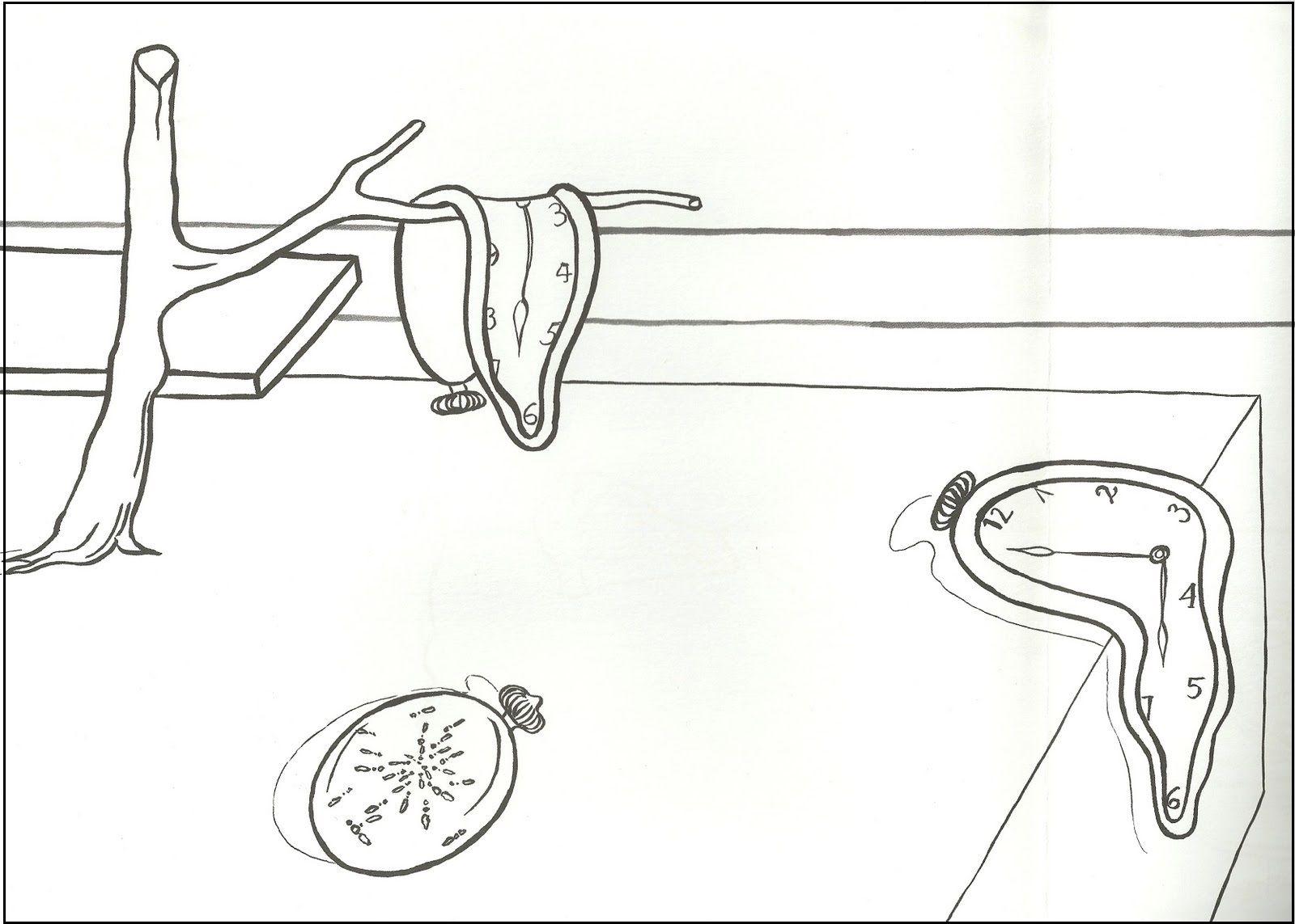 Relojes blandos   Láminas para colorear: Pequeños artistas ...