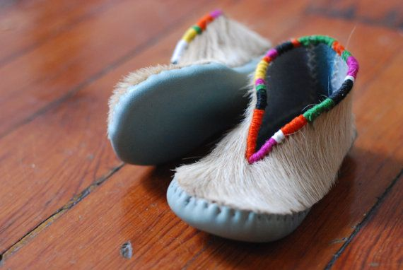 embroidered pony hair baby moccasins