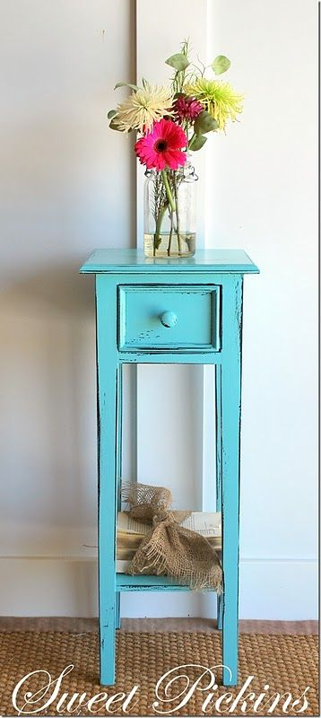 Aqua Night Stand Furniture Guest Room Decor Skinny