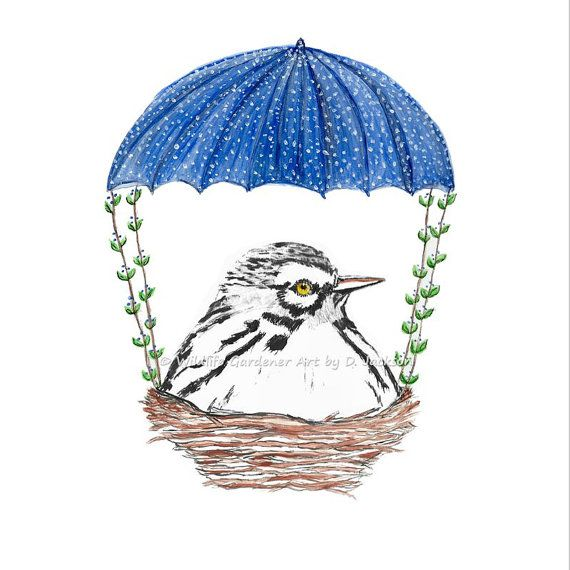 Nesting White Bird with Blue Parachute  by WildlifeGardenerArt