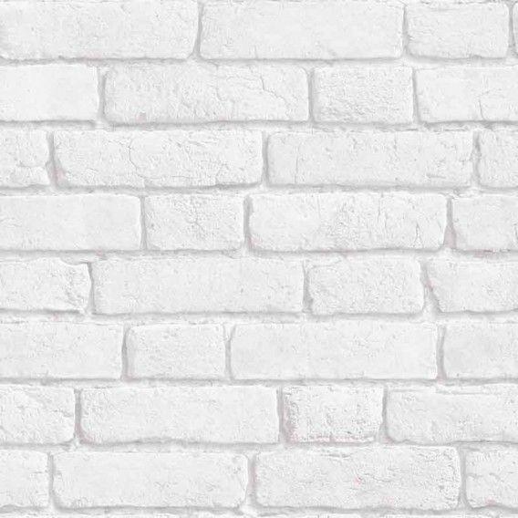 Papier peint Briques blanches trompe lu0027œil (Rouleau10m - peindre sur papier vinyl