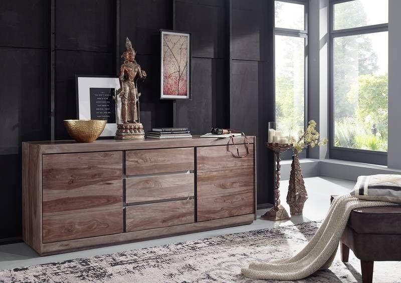 Sideboard Sheesham 187x46x77 smoked oak lackiert SHIELD #207 Jetzt - sideboard für schlafzimmer