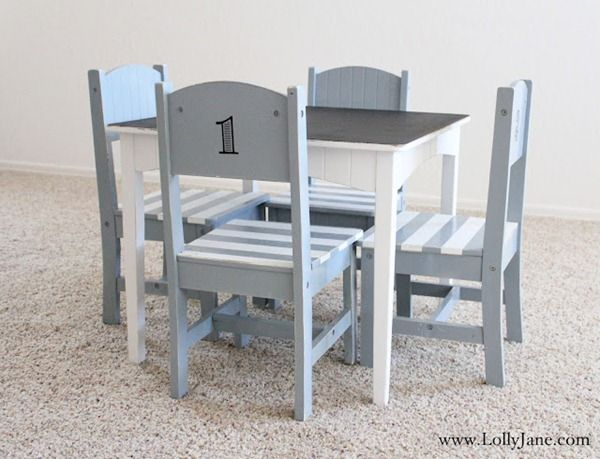 Furniture makeover children\u0027s table \u0026 chair set. Love the stripe chairs and chalkboard top! Great way to freshen up kids\u0027 furniture finds at consignment ... & 12 Fun DIY Kids Table Makeovers | Chair makeover Child and Playrooms