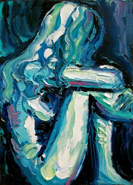 Confinement - 18x24 abstract nude signed Lustre print reproduction by Aja
