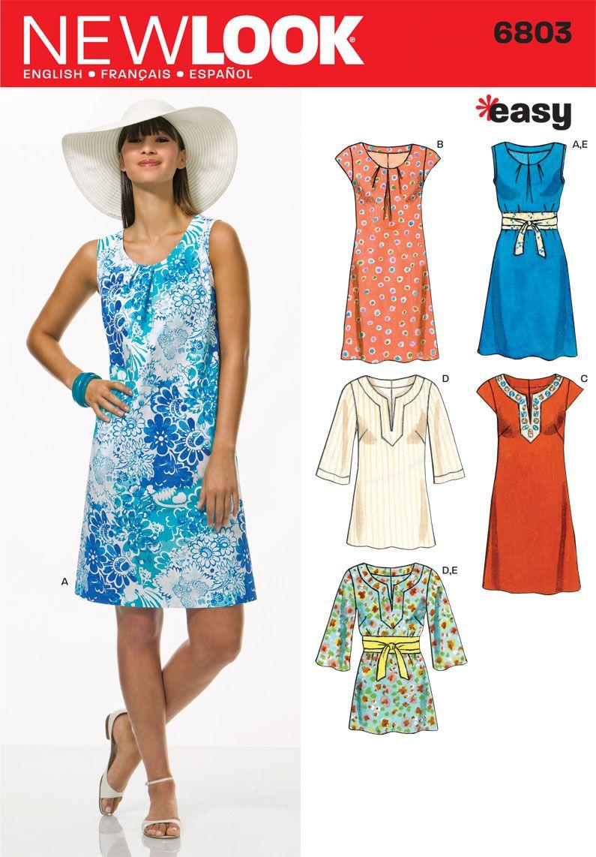 Womens easy dresses tunics pattern new look patterns nähen