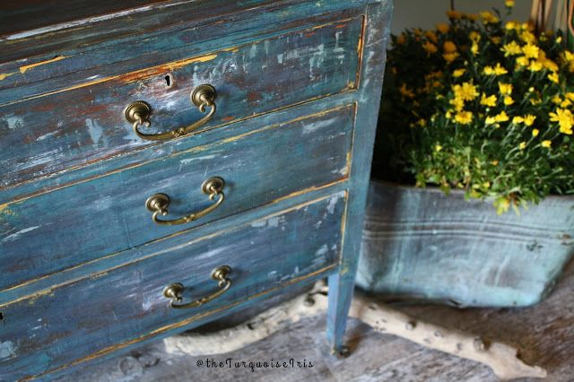 The Turquoise Iris ~ Vintage Modern Hand Painted Furniture