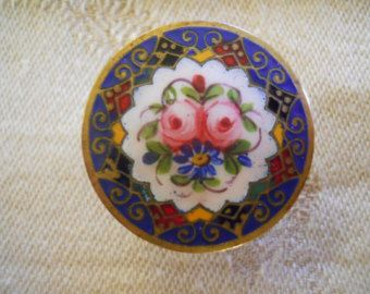 Enamel Antique Victorian Button Stud ~ French Champleve ~ Beautiful floral~ 15/16th inch