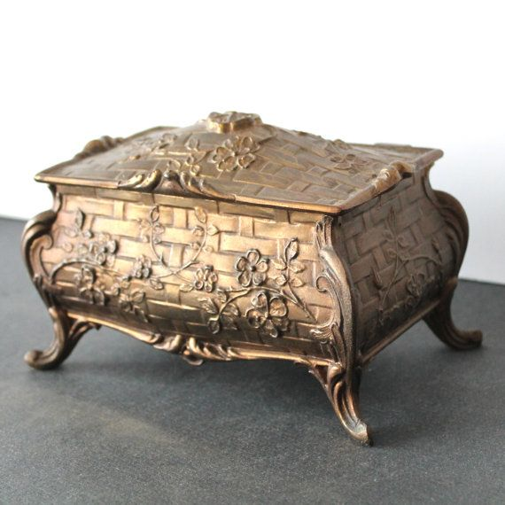 Vintage Brass Jewelry Box or Casket Brass jewelry Casket and Box