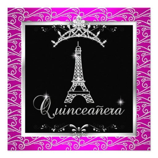 Quinceanera Hot Pink Silver Tiara Eiffel Tower
