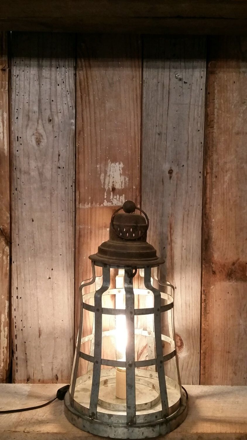 Shabby Chic Rustic Metal Lamp Industrial Photo Prop Home