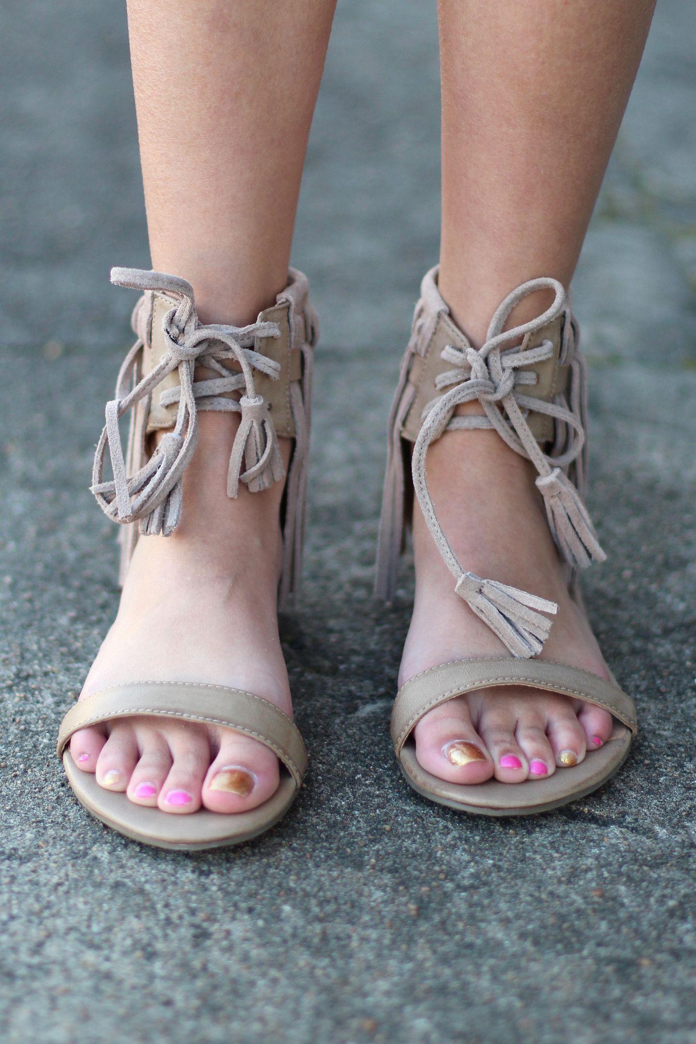 Very Volatile: Aubrey Fringe Tie Sandal {Taupe}   Prom heels