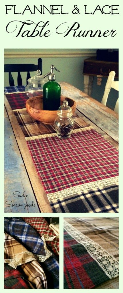 Thrifted flannel shirt and vintage lace ribbon table runner for fall autumn by Sadie Seasongoods / www.sadieseasongoods.com