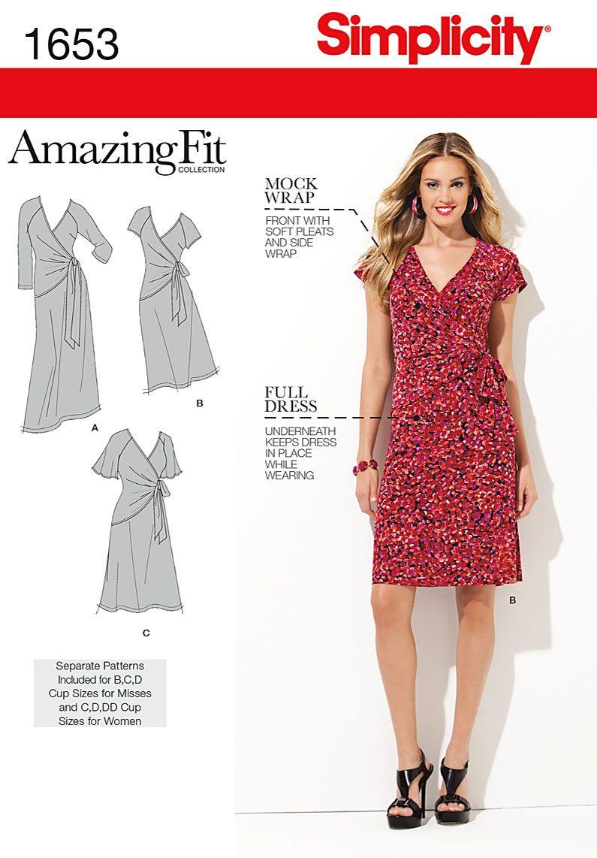 Simplicity 1653 - Misses\' & Plus Sizes Amazing Fit Knit Dress; Model ...
