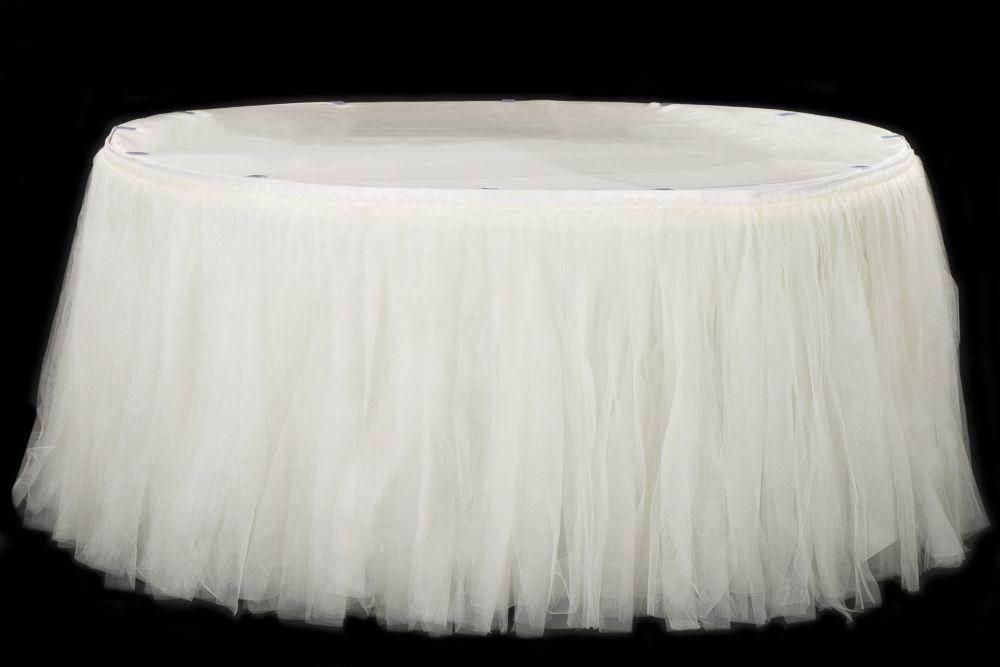 Tulle Tutu 21ft Table Skirt Ivory Wedding Table