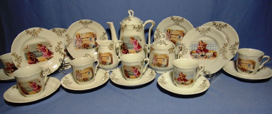 antique teddy tea set