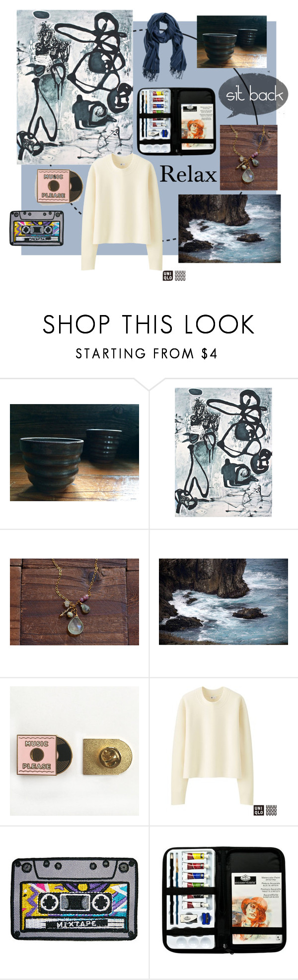 """""""Sit Back, Relax"""" by oeandt on Polyvore featuring Uniqlo, Fall, artistic, sweaters, Teacup and originalart"""