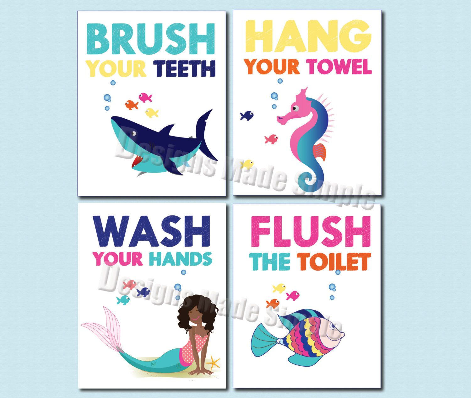 Shark Seahorse Dark Skinned Mermaid And Fish Bathroom Signs Set Of 4 Wash Fish Bathroom Mermaid Bathroom Kids Bathroom Signs